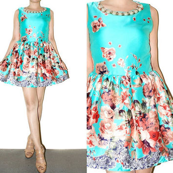 Mini Dress Blue Green Roses Free Pearl Vintage Inspiration Sleeveless Day Evening Prom Party  Bridesmaid Romantic  Women Dress