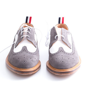 *NEW* White, Grey Suede Long Wingtip Brogues