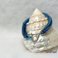 Box Chain Weave Bracelet, Handmade Light and Dark Blue Aluminum Chainmaille Bracelet