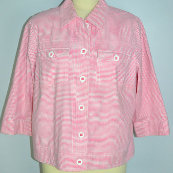 Ruby Rd Pink Gingham Jacket Size 16W plus