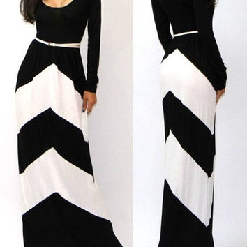 2015 new fashion summer women's Fashion sexy regular geometric stripes hit the color long-sleeved dress S-XXL = 1753493124