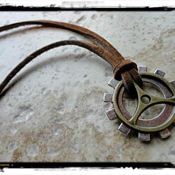 Mens Gears Explorer Biker Mechanic Necklace Gears and Suede Leather Brass Silver
