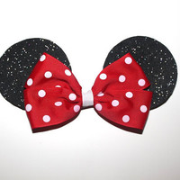 Minnie Mouse Ears Hair Bow, Red Minnie Mouse Bow