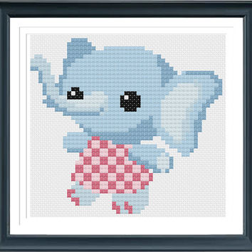 Baby Elephant KT2678, Cross Stitch Pattern pdf, Cross Stitch Pattern Elephant, Embroidery Elephant, Animals Cross Stitch