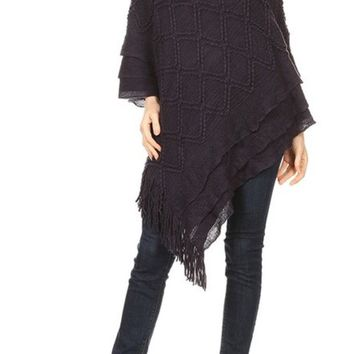 Womens Pull Over V-Neck Sweater Poncho Black Fringed Cape