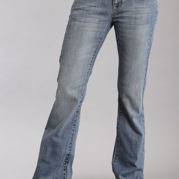 Stetson Ladies 816 Fit Classic Boot Cut Jeans Light Wash Heavy Pocket Stitch W/studs