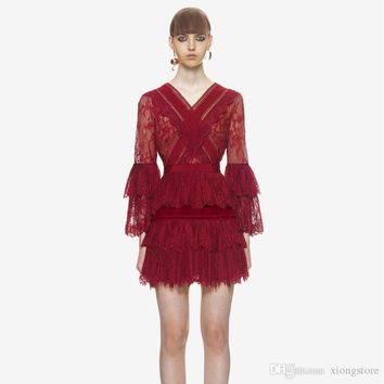 Red Women Dresses HIGH QUALITY 2019 Spring High-end Custom Self Portrait Runway V Neck hollow out sexy high waist Patchwork Lace Long Sleeve