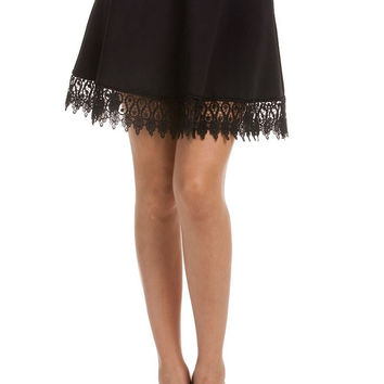 Scuba Lace Trim Skirt - Black