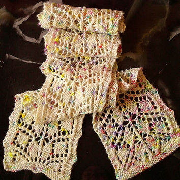 Scarf, Lace Scarf, Knit, Leaf Lace, Confetti, Womens, Multi Color on Cream