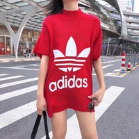 ADIDAS Women Fashion Knitwear Jumper Top Sweater