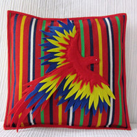 "Bird cushion cover - Decorative Bird Pillow - Bird Throw Pillow Cover - Bird Pillow - Parrot Pillow  ""Liberdade"""