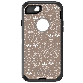 DistinctInk™ OtterBox Defender Series Case for Apple iPhone / Samsung Galaxy / Google Pixel - Tan White Floral