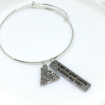 Engraved Pizza Bracelet, Quote Bracelet, Pizza Accessories, Silver Pizza Bracelet, Pizza Charm, Silver Pizza, Gift for Her, Best Friend Gift
