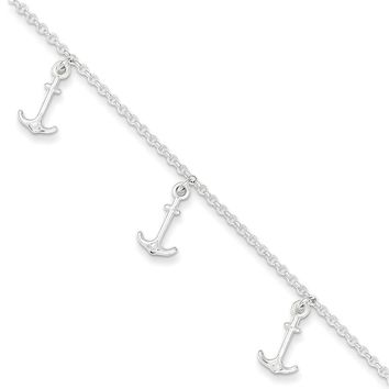 925 Sterling Silver Anchors Aweigh Anchor Dangle Ankle Bracelet