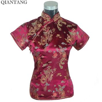 Summer Women's Shirt Tops Vintage Chinese Lady Satin Blouse Short Sleeve Button Qipao Mujer Camisa Size S M L XL XXL