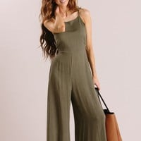 Harlow Olive Polka Dot Bow Back Jumpsuit