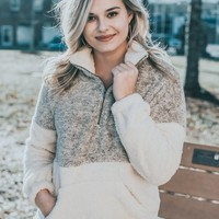 Color Blocked  Fuzzy Pullover, Taupe/Cream