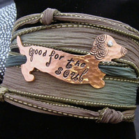 D2E dachshund weiner dog hand dyed silk wrap bracelet, hand stamped copper, magnetic clasp