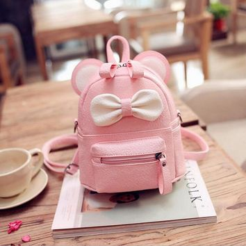 Cartoon Small Mouse Bowknot Leather Backpacks Women's Messenger Shoulder Bags Children Small School Bags Mochila Escolar