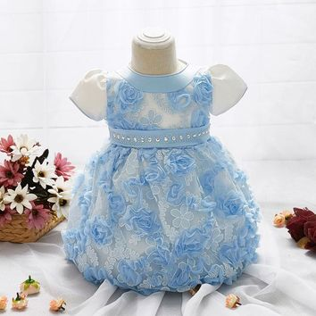 2017 Baby Girl's Dress First Birthday Party Gift Dress Roses Bright Diamond Short-sleeved Pompon Yarn Dress Fashion