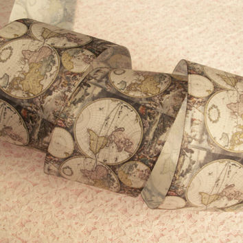"""World Map Ribbon, 2 1/2"""" Wide, Wired Edge, Baskets, Wreaths, Bows, Door Hangers, Home Decor, Ribbon Decorations, 3 YARDS"""
