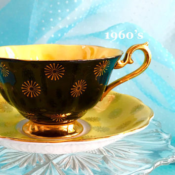 Retro Royal Albert Tea Cup and Saucer, Yellow Black Tea Cup, English Tea Cups, Vintage Tea Cups, Teacup Set, Birthday Gift for Friend