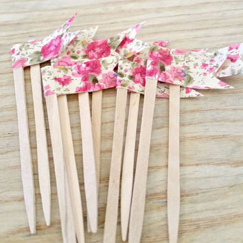 Shabby Cottage Rose Fabric Cupcake Topper, Cupcake Pennant Flag, Wooden Food Pick, Cupcake Pick, for Birthdays, Baby Shower, Office Parties