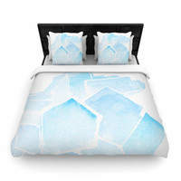 "Jennifer Rizzo ""Blue Quartz"" Blue Watercolor Woven Duvet Cover"