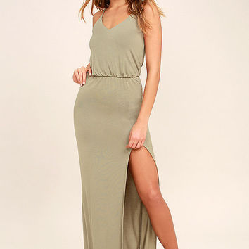 Watch the Sunset Washed Olive Green Maxi Dress