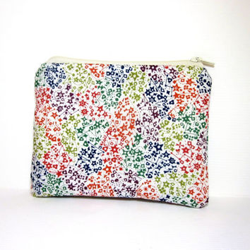 Small Zipper Pouch Small Wallet Small Cosmetic Pouch Colorful Stars Liberty of London Fabric