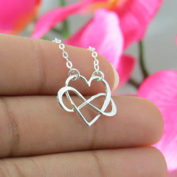 Sterling Silver Heart and Infinity Entwined Necklace, Mothers Day Necklace