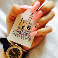 x Pink Diamonds x matte pastel pink ab swarovski diamonds 3d nail art long false glue on nails