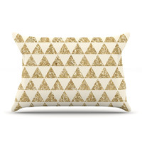 "Nika Martinez ""Glitter Triangles in Gold"" Tan Yellow Pillow Case"