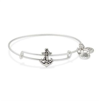 Alex and Ani Anchor Slider Charm Bangle - Rafaelian Silver Finish