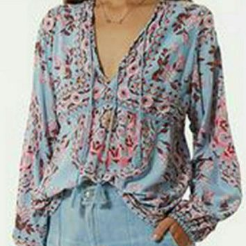"Free People ""Pandora"" Peasant Top Bohemian Print In ""Aquarium"" Festival Blouse With Ta"
