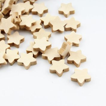 30pcs Unfinished Natural Wooden Star Spacer Beading Beads 19mm for Baby Teethers DIY Crafts Kids Toys & Pacifier Clip Wood Bead