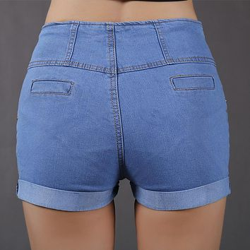 Women's Denim Shorts with High Waist Summer Micro Elastic Jeans Shorts Women Short Jeans Femme Ete Mujer Hot Sale Plus Size DK9A
