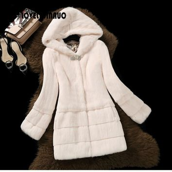 Free Shipping New Arrival Genuine Rabbit Fur Coat with hat Women full pelt rabbit fur jacket Winter fur waistcoats big F848