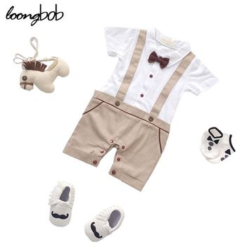 Baby Boys Summer Style Simple Romper Infant Boys Khaki And Blue Printing Clothes Children Gentleman With Bow Tie Jumpsuit