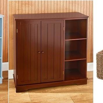 Bead Board Storage Cabinet with Baskets 2 Doors Open Shelves Rustic Country Home