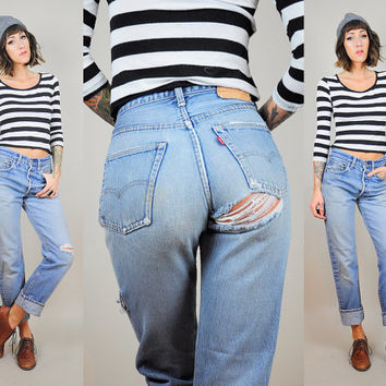 LEVI'S 501 Redline SELVEDGE 70's Boyfriend Jeans DISTRESSED 60's denim Worn-in slouchy Single stitch pocket