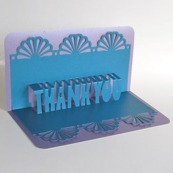 THANK YOU 3D Pop Up Greeting Card in Metallic Blue on Metallic Silver Home Décor Handmade, Original Design, One Of A Kind