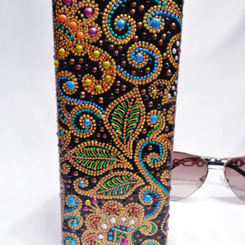 Glasses case Hand painting Bohemian decor Paisley decor