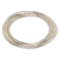 Multi Strand Silver Textured Enameled Steel Interlocking Bangle Bracelet