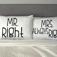 Mr Right And Mrs Always Right Rectangular Pillow Couples Rectangular Pillow Cover, Pillow Case, Cotton Pillow, Romantic Pillow, Couples Case