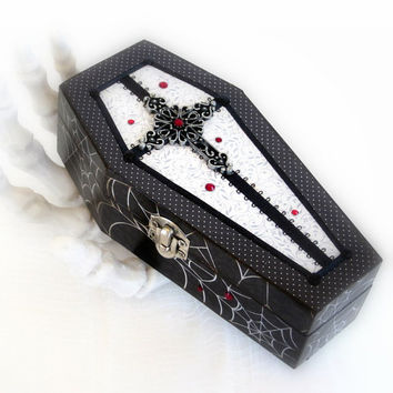 Coffin Jewelry Box Decoupaged Halloween Keepsake Box Black with Blood Red Crystals and Cross Gothic Goth
