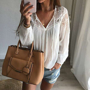 Women's Loose Long Sleeve Casual Shirt Tops Fashion T-Shirts US STOCK