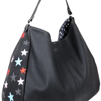 Colorful Metallic Star Printed Vegan Tote Bag & Crossbody 2-in-1 Duo SET