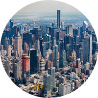 New York City from Above Circle Wall Decal
