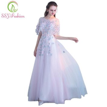 New Sweet Pink Lace Flower Evening Dress The Bride Banquet Elegant Floor-length Long Party Formal Gown Custom Made